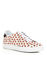 Paul Smith Basso Strawberry Skull Print Lace Up Sneakers White