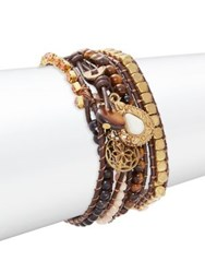 Design Lab Lord And Taylor Crystal Beaded Wrap Bracelet Brown