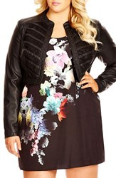 Plus Size Women's City Chic Lace Inset Faux Leather Bolero