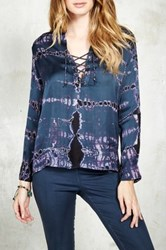 Gypsy05 Sateen Long Sleeve Mandarin Collar Laced Blouse Blue
