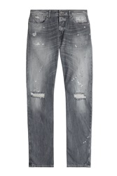 7 For All Mankind Seven For All Mankind Distressed Straight Leg Jeans Grey
