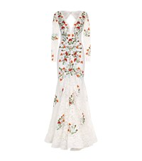 Jovani Embroidered Lace Fishtail Gown Multi
