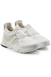 Robert Clergerie Sneakers With Leather And Woven Detail White