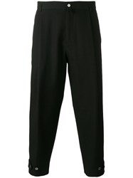 Dolce And Gabbana Textured Cropped Trousers Black