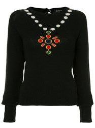Chanel Vintage Necklace Intarsia Jumper Black