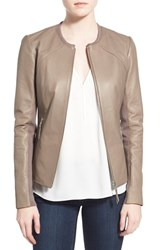 Women's Soia And Kyo Slim Fit Zip Front Leather Jacket Desert