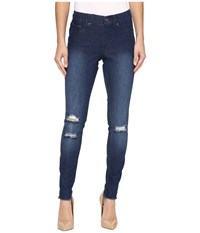 Hue Ripped Knee Denim Leggings Ink Wash Women's Jeans Blue
