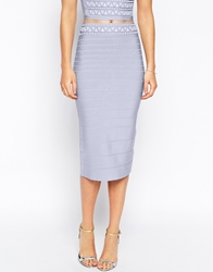 Forever Unique Bandage Midi Skirt With Gem Embellished Waistband Blue