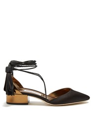 Jimmy Choo Duchess Satin And Leather Sandals Black Gold