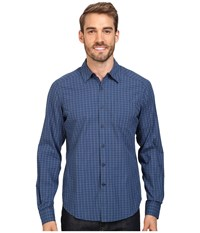 Nau Parallelogram Long Sleeve Shirt Tide Plaid Men's Long Sleeve Button Up Blue