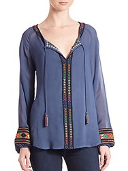 Love Sam Embroidered Peasant Top Blue Combo