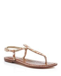 Sam Edelman Gail Beaded T Strap Flat Sandals White Nude