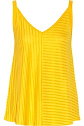 Sandro Time Striped Jersey Top Yellow