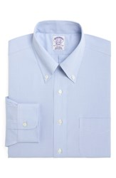 Brooks Brothers Big And Tall Classic Fit Houndstooth Dress Shirt Light Pastel Blue