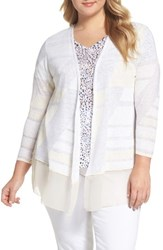 Nic Zoe Plus Size Women's Sunlight Chiffon Trim Linen Blend Cardigan Multi