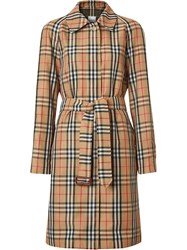 Burberry Vintage Check Belted Trench Coat Yellow