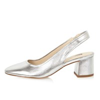 River Island Womens Silver Leather Slingback Heeled Shoes
