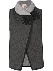 Antonio Marras Denim Quilted Waistcoat Cotton Polyester Spandex Elastane Black