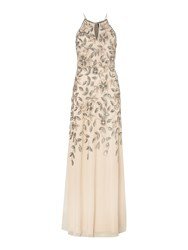 Adrianna Papell Halter Beaded Floral Maxi Taupe