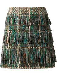 Maiyet Fringed Boucle Knit Skirt Green