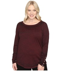 Jag Jeans Plus Size Meghan Burnout Jersey Tee Berry Women's T Shirt Burgundy