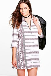 Boohoo Printed Stripe Shirt Dress White