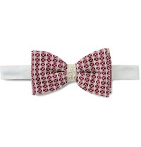 Marwood Cotton Lace Overlaid Silk Bow Tie Burgundy