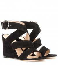 Gianvito Rossi Rylee Suede Wedge Sandals Black