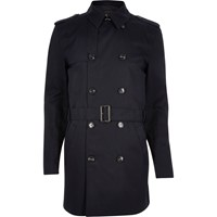 River Island Mens Navy Double Breasted Military Trench Coat
