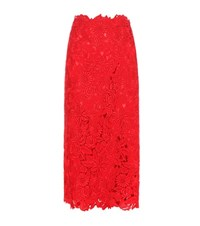 Valentino Lace Skirt Red