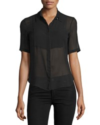 Cnc Costume National Short Sleeve Button Front Sheer Top Black Women's