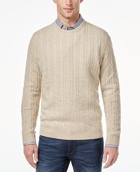 Club Room Men's Big And Tall Cable Knit Cashmere Sweater Only At Macy's Oatmeal Heather