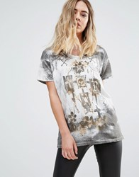 Religion Cross Oversized T Shirt Winter White