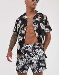 New Look Black And White Floral Swim Shorts