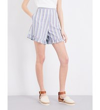 See By Chloe Ruffled Striped Stretch Cotton Shorts Multicolor