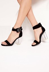Missguided Perspex Barely There Block Heels Black