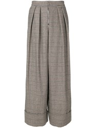 Joshua Millard Wide Leg Tweed Trousers Virgin Wool Brown