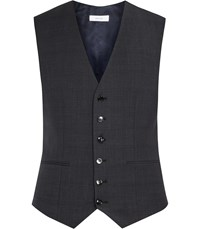 Reiss Gaffer W Check Weave Waistcoat In Charcoal