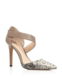 Vince Camuto Carlotte Asymmetrical Strap High Heel Pumps Grey Taupe
