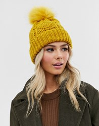 Pieces Chunky Cable Knitted Beanie Hat In Mustard Yellow