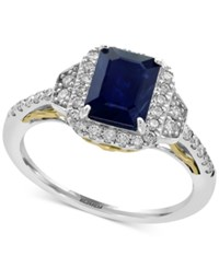 Effy Royale Bleu By Sapphire 1 1 2 Ct. T.W. And Diamond 3 8 Ct. T.W. Ring In 14K Gold And White Gold Two Tone