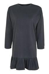 Topshop 3 4 Sleeve Ruffle Hem Tunic Washed Black