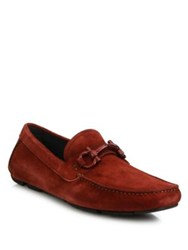 Salvatore Ferragamo Parigi Suede Tonal Bit Loafers Copper
