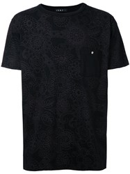 Roar Floral Print Chest Pocket T Shirt Black