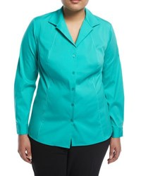 Lafayette 148 New York Zoey Top Stitch Blouse Turquoise