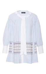 Rossella Jardini Check And Striped Painter Shirt Light Blue