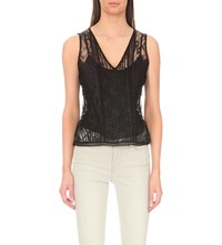 Allsaints Lara Lace And Jersey Top Black Midnight