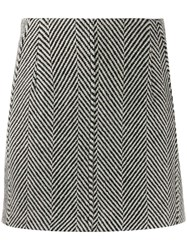 Tela Herringbone Mini Skirt Black