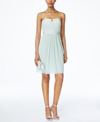 Adrianna Papell Strapless Lace Dress Mint