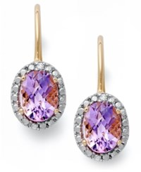 Victoria Townsend 18K Gold Over Sterling Silver Earrings Amethyst 2 1 2 Ct. T.W. And Diamond Accent Leverback Earrings